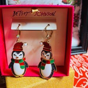 New Betsey Johnson Holiday Penguin Earrings